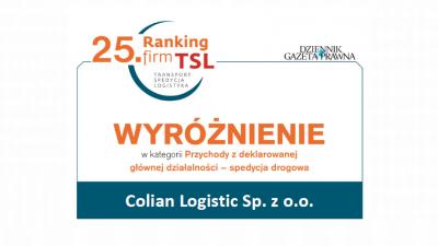 Colian Logistic z wyróżnieniem w 25. Rankingu TSL!